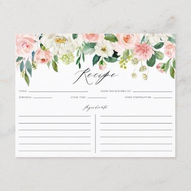 Watercolor Pink Florals Bridal Shower Recipe Invitations