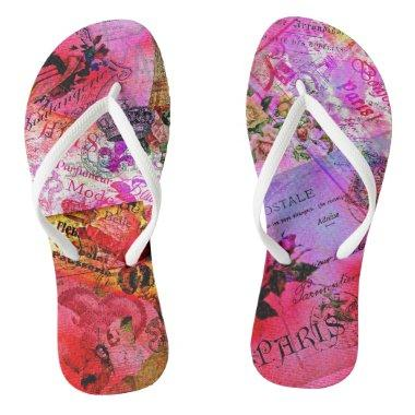 Watercolor Pink French Carte Postal Flip Flops