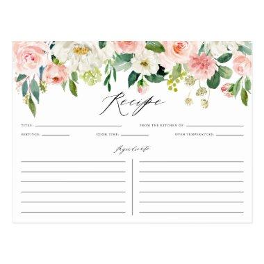 Watercolor Pink Peach Floral Garland Recipe Invitations