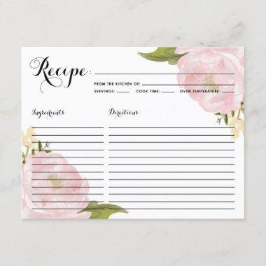 Watercolor Pink Peonies Bridal Shower Recipe Invitations