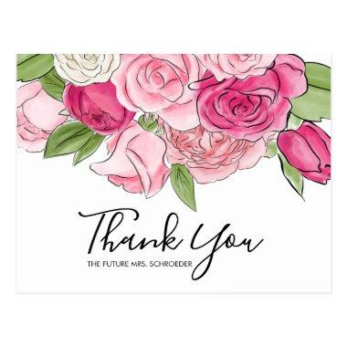 Watercolor Pink Roses Bridal Thank You PostInvitations
