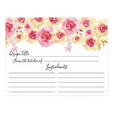 Watercolor Pink Yellow Floral Recipe Invitations