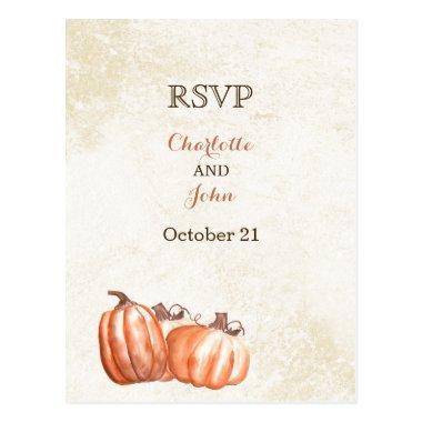 watercolor pumpkins fall harvest wedding rsvp post