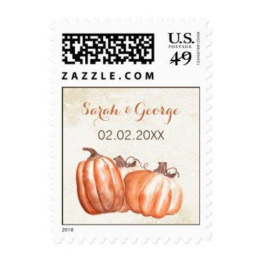 Watercolor Pumpkins Fall Harvest Wedding stamps