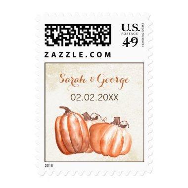 Watercolor Pumpkins Fall Harvest Wedding stamps