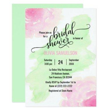 Watercolor Roses Pink & Mint Green