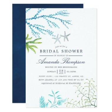 Watercolor Seaweed Beach Themed Bridal Shower Invitations