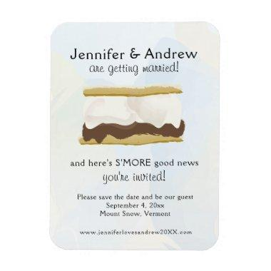 Watercolor S'mores Blue Save the Date Magnet