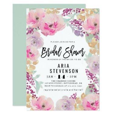 Watercolor Spring Bridal Shower Invitations
