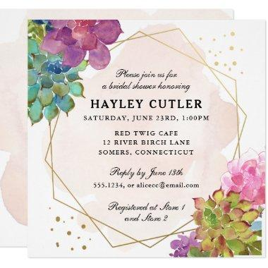 Watercolor Succulent Gold Terrarium Bridal Shower Invitations