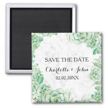 watercolor succulent wedding save the Date Magnet