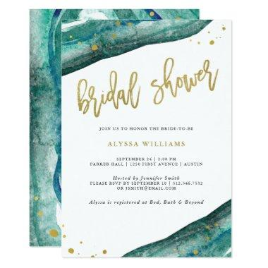 Watercolor Teal and Gold Geode Bridal Shower Invitations