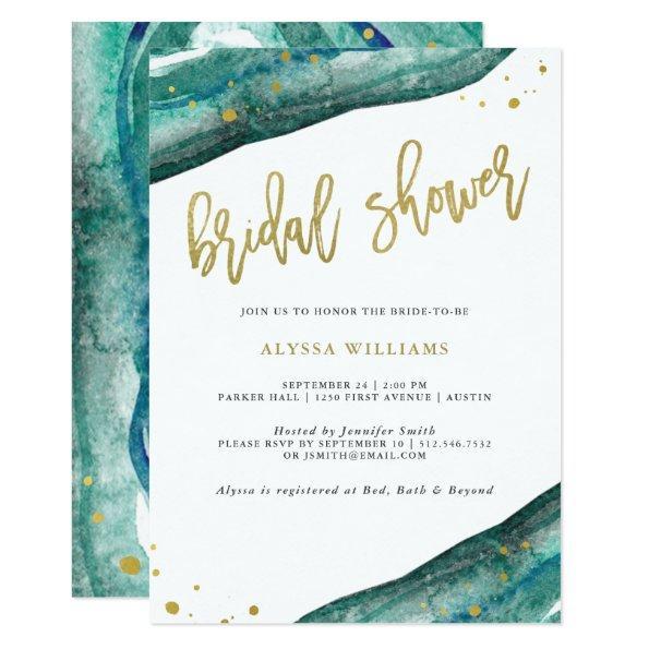 5ea10c292e446 Watercolor Teal and Gold Geode Bridal Shower Invitations – Unique ...