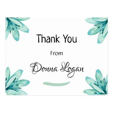 Watercolor Teal Floral Bridal Thank You Post