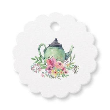 Watercolor Teapot and Flowers Tea Party Favor Tags