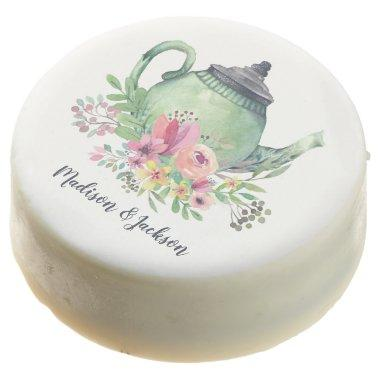 Watercolor Teapot Wedding Chocolate Covered Oreo