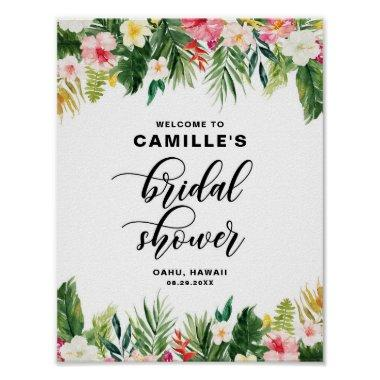 Watercolor Tropical Flowers Bridal Shower Welcome Poster