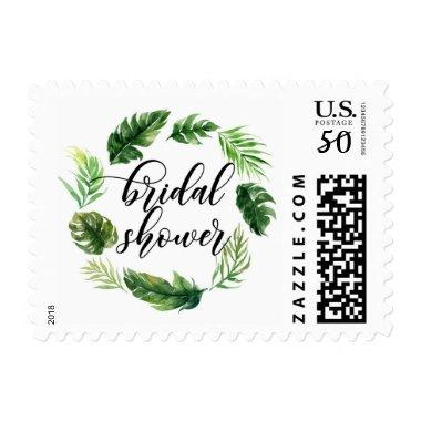 Watercolor Tropical Leaves Wreath  Postage