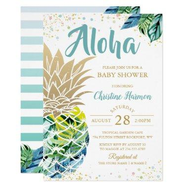 Watercolor Tropical Pineapple Beach Baby Shower Invitations