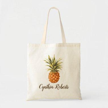 Watercolor Tropical Pineapple Bridesmaid Favor Tote Bag