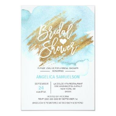 Watercolor Turquoise Gold Brush Bridal Shower Invitations