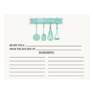 Watercolor Utensils Bridal Shower Recipe Invitations