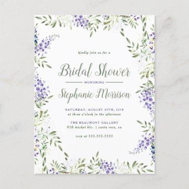 Watercolor Wisteria Frame Floral Bridal Shower Invitation PostInvitations
