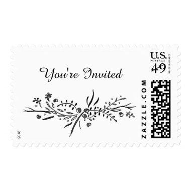 Watercolor Woodland Wedding Custom Postage Stamp