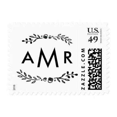 Watercolor Woodland Wedding Monogram Stamps