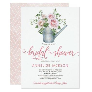 Watering can sage blush pink roses