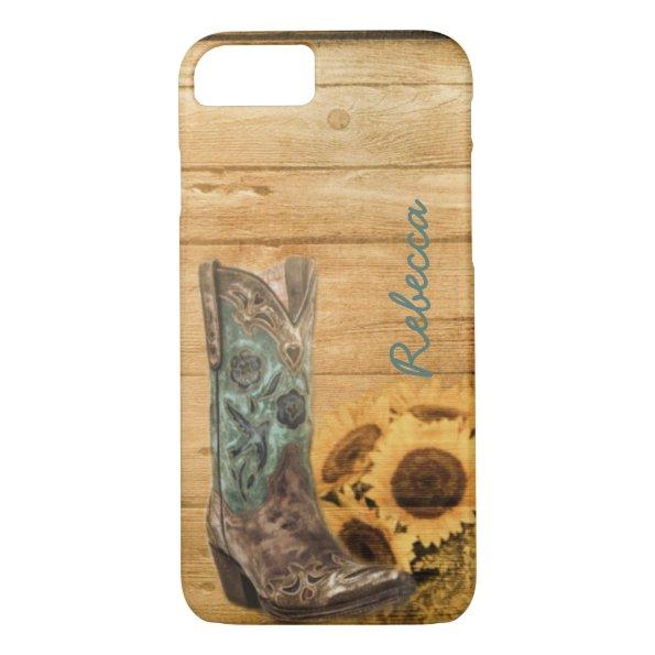 Weathered Western Country sunflower cowboy boot iPhone 7 Case