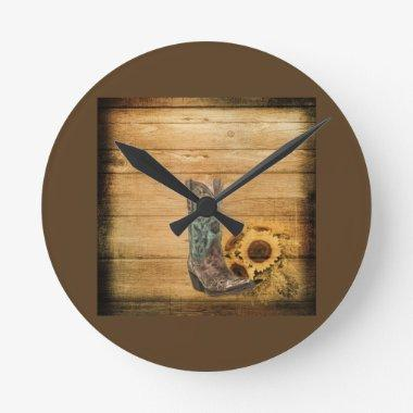 Weathered Western Country sunflower cowboy boot Round Clock