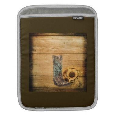 Weathered Western Country sunflower cowboy boot Sleeve For iPads
