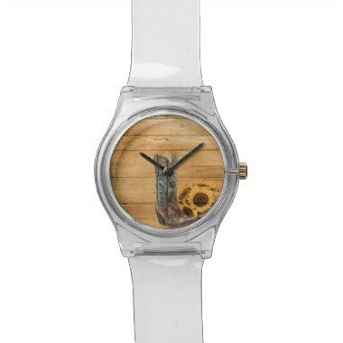 Weathered Western Country sunflower cowboy boot Watch