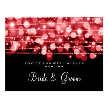 Wedding Advice Card Party Sparkles Red