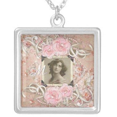 Wedding Anniversary Victorian Bride Roses Pearls Silver Plated Necklace