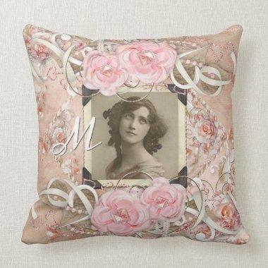 Wedding Anniversary Victorian Bride Roses Pearls Throw Pillow