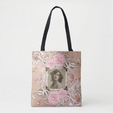 Wedding Anniversary Victorian Bride Roses Pearls Tote Bag