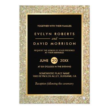 Wedding Announcement Elegant Gold Glitter Sparkles