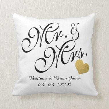 Wedding Black Script Gold Heart Name Mr. and Mrs. Throw Pillow