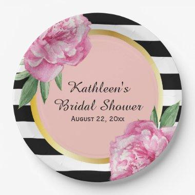 Wedding  Black Stripes Floral Glam Paper Plate