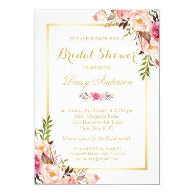 Wedding Bridal Shower Chic Floral Golden Frame Invitations
