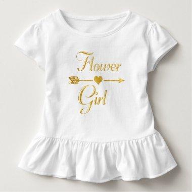 Wedding  Glitter Gold Flower Girl Toddler T-shirt