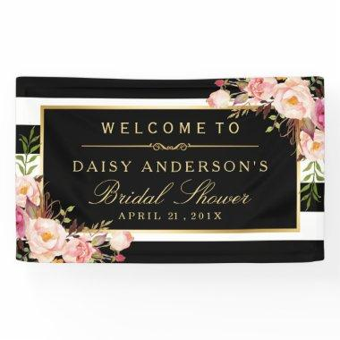 Wedding Bridal Shower Modern Vintage Floral Decor Banner