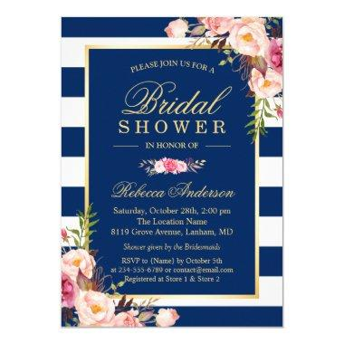 Wedding Bridal Shower | Navy Blue Stripes Floral Invitations