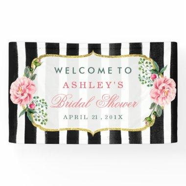 Wedding  Romantic Floral Stripes Banner