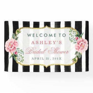 Wedding  Romantic Floral Stripes Banner