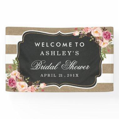 Wedding Bridal Shower Rustic Burlap Stripes Floral Banner
