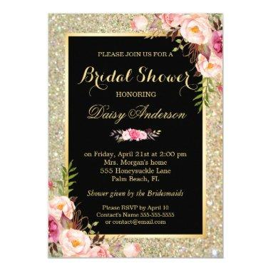 Wedding Bridal Shower Shiny Gold Sparkles Floral Invitations