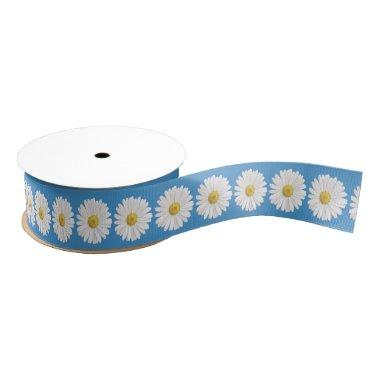 Wedding  White Yellow Blue Daisy Grosgrain Ribbon